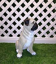 Садовая фигура собака Мопс сидящий, фото 2