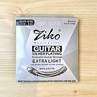 Струны посеребрённые для акустической гитары Ziko 10-48
