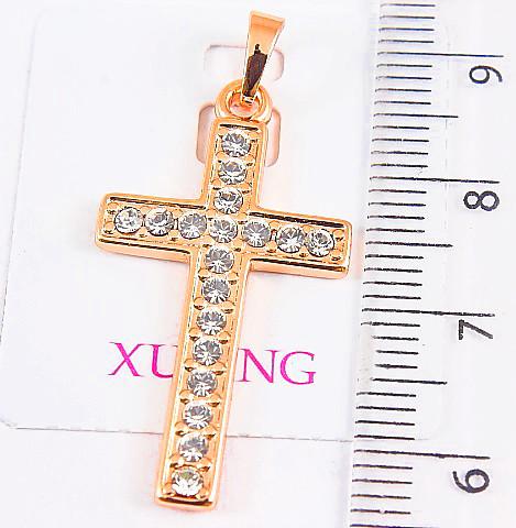 Крестик xuping длина 3.7см ширина 1.7см медицинское золото позолота 18К на цепочку до 3мм к342