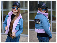 Джинсовая стильная курточка трансформер oversize, фото 1