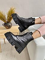 Женские ботинки кожаные зимние на меху черные