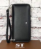 Кожаный клатч черный. Женский кошелек классика. Кожаное женское портмоне в коробке. СКЖ22