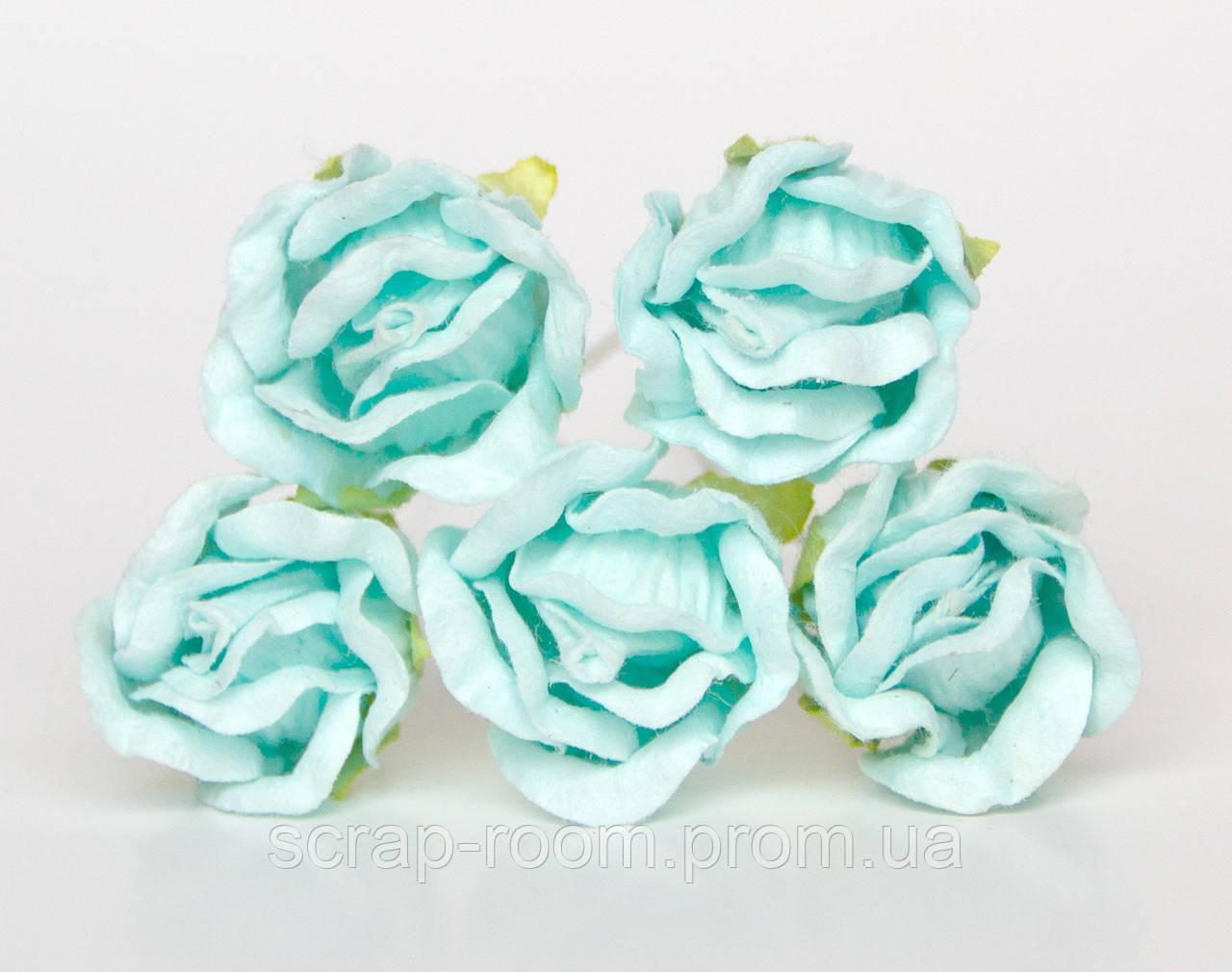 Бутон чайной розы мятный диаметр 2 см, бутон мятный, бумажная роза бутон мятный, бумажная роза, цена за 1 шт