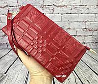 Кожаный клатч красный. Женское кожаное портмоне. Женский кошелек. Кожаная косметичка. К1