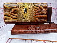 Женский кожаный кошелек Сossroll. Кожаное портмоне тиснение под крокодила. Бумажник. СК50