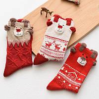 Носки женские, новогодние на подарок маме, девушке, коллеге, сестре с оленями!