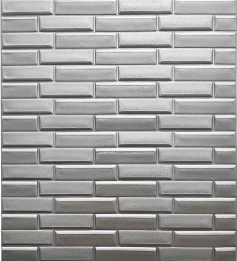 3Д панели самоклеющиеся для стен под кирпич рельефный Серебро, 7 мм