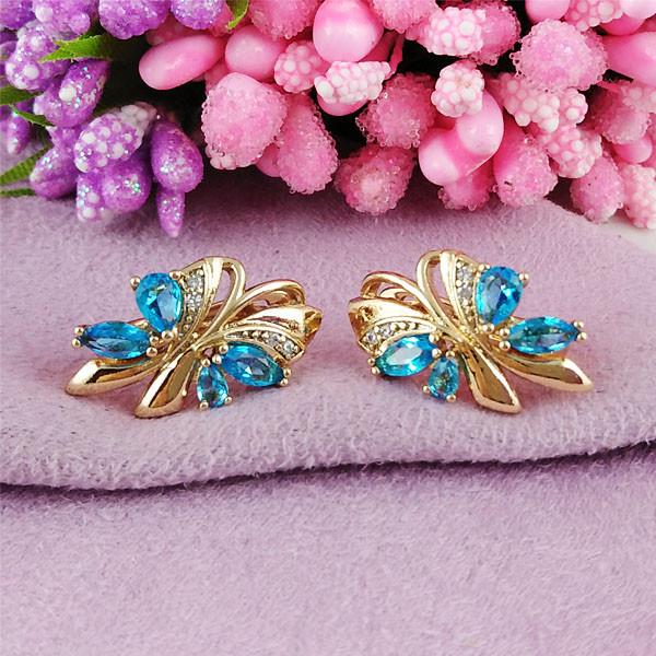 Серьги Xuping Jewelry Нелли аквамарин медицинское золото позолота 18К английский замок А/В 1-0340