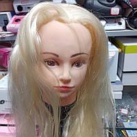 Голова учебная для причесок, стрижки моделирования искусственные волосы блондинка, манекен парикмахера