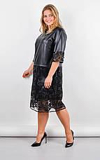 Платье женское нарядное с гипюром и эко-кожей размеры: 50-64, фото 3