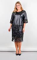 Платье женское нарядное с гипюром и эко-кожей размеры: 50-64