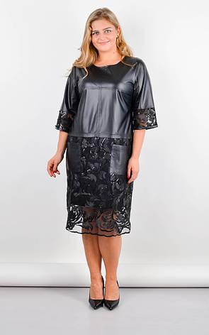Платье женское нарядное с гипюром и эко-кожей размеры: 50-64, фото 2