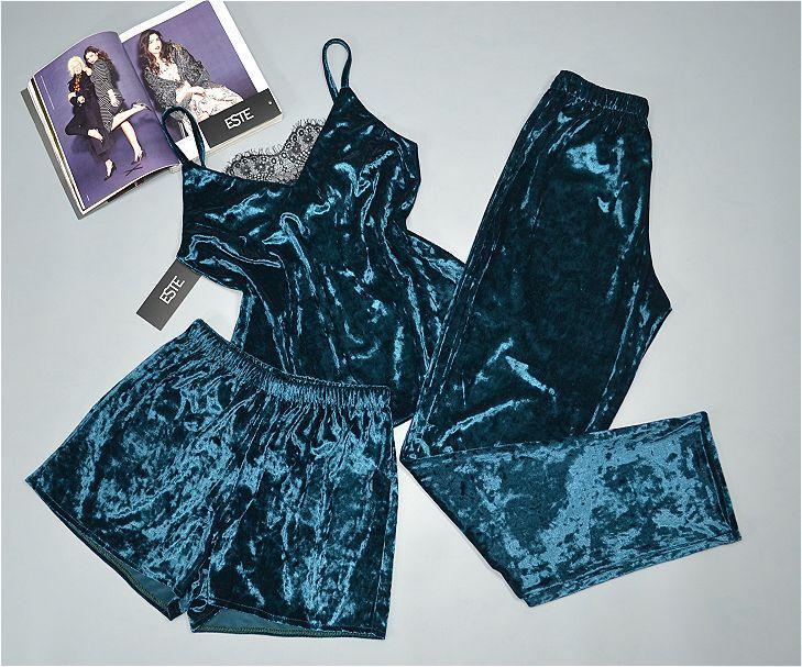 Пижама тройка велюровая майка штаны и шорты Este 303-1 изумруд.