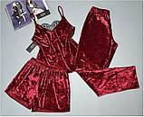 Велюровий піжамний комплект трійка Este 303-1 бордовий., фото 2