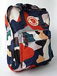 Стильный городской, школьный рюкзак канкен для девочки Fjallraven Kanken classic 16 л камуфляж, фото 6
