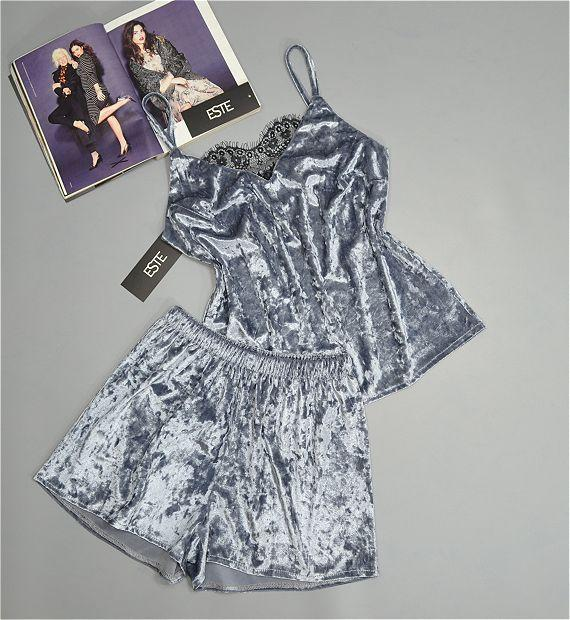 Пижама женская велюровая майка+шорты Este 301-1 серебро.