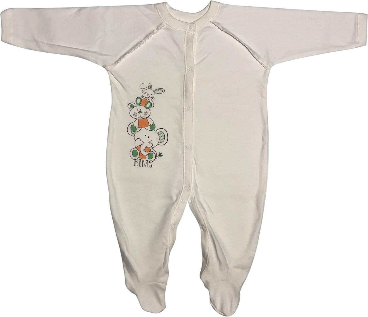 Тёплый человечек слип с начёсом для новорожденных рост 68 3-6 мес на мальчика девочку трикотажный молочный
