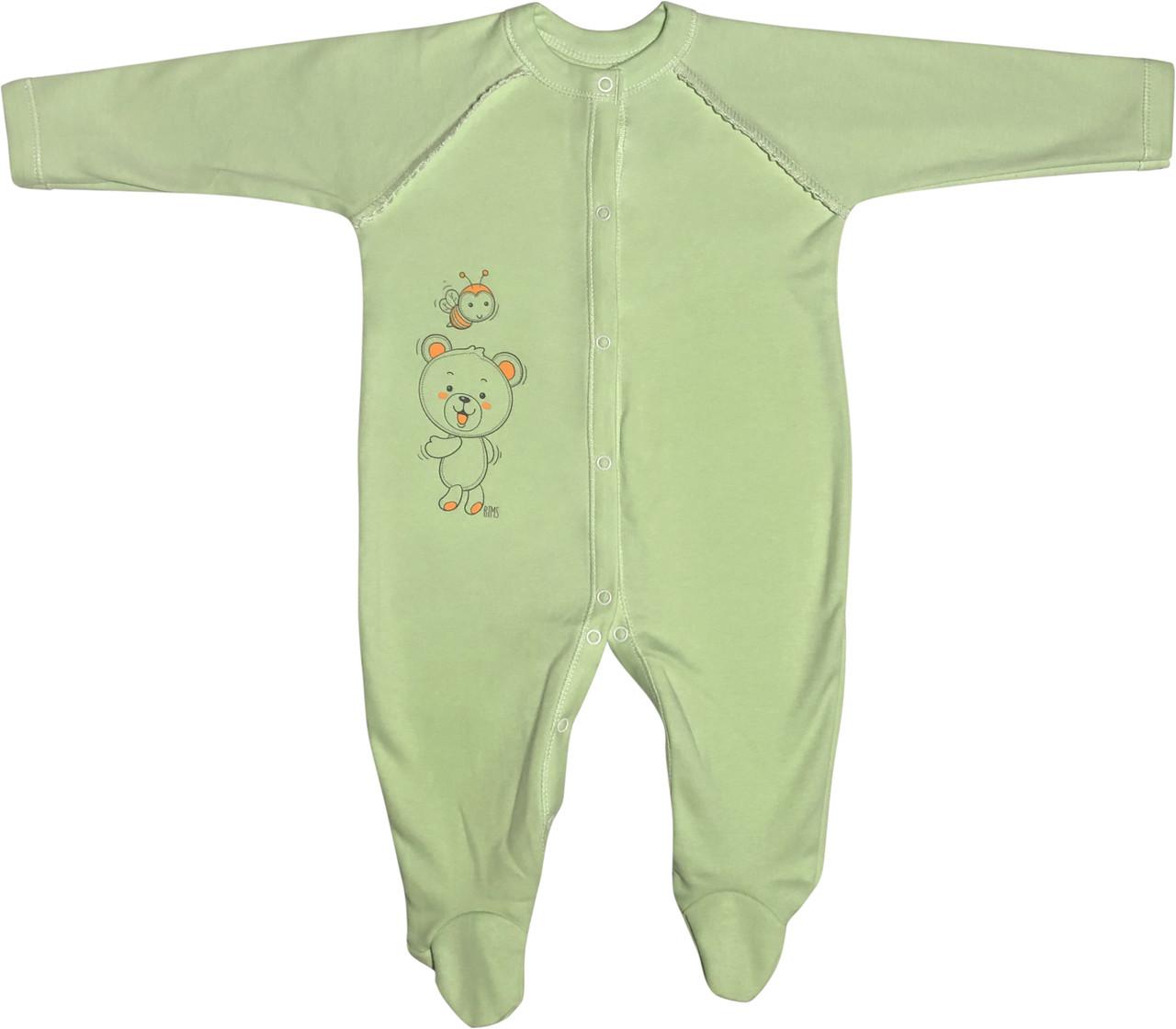 Тёплый человечек слип с начёсом для новорожденных рост 86 1-1,5 года на мальчика девочку трикотажный салатовый