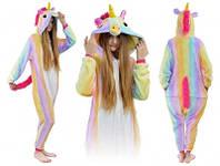 Кигуруми пижама Радужный единорог размер L, костюм животного с капюшоном, кигурими для взрослого рост 170, 176