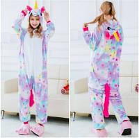 Кигуруми пижама Единорог в звездочку размер S - костюм животного, кигурими для взрослого рост 150, 160