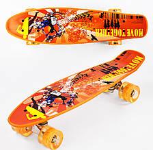 Пенні Борд Penny Board 22Д Помаранчеве графіті світяться колеса