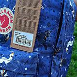Модный женский рюкзак-сумка канкен синий с рисунками Fjallraven Kanken blue art classic 16 л, фото 5