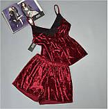 Пижама женская майка и шорты Este велюровая бордовая. ., фото 3
