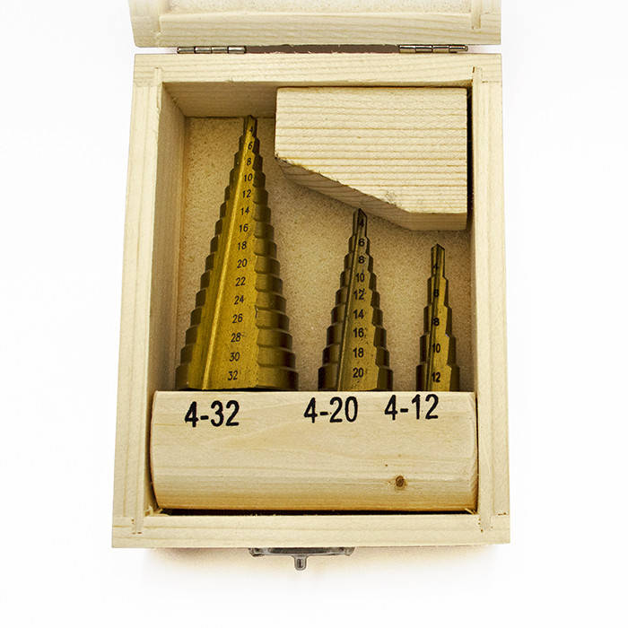 Набор ступенчатых свёрл TCCN по металлу 4-12, 4-20, 4-32мм (3шт.), фото 2