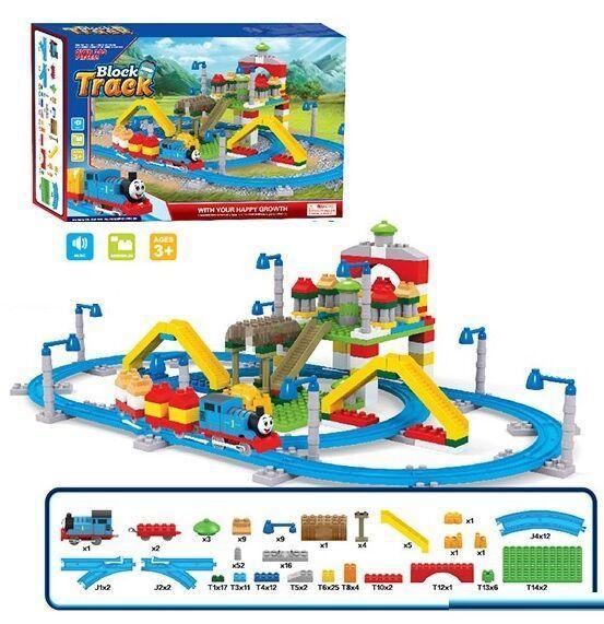 """Залізниця - конструктор з паровозиком """"Томас"""" арт. 599-6 A (203 деталі)"""