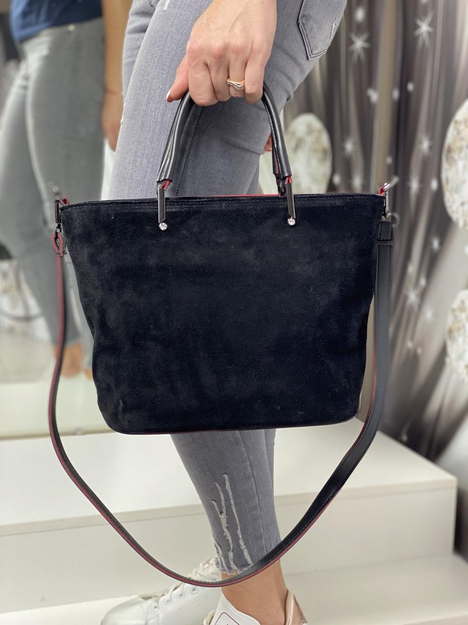 Замшевая черная женская сумка на плечо классическая деловая натуральная замша+экокожа