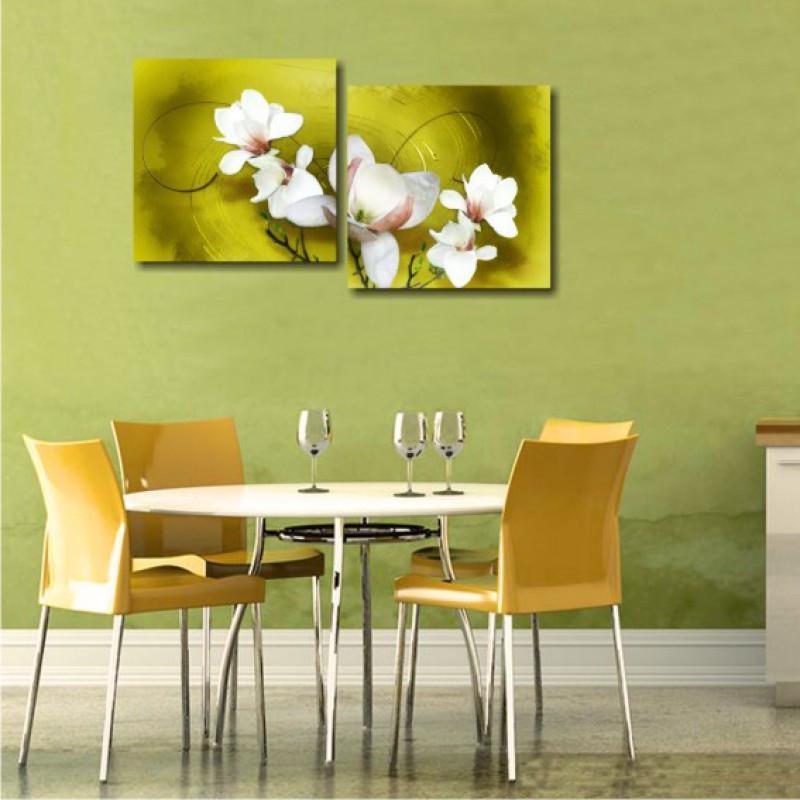 """Модульна картина """"Білі квіти (триптих)"""""""