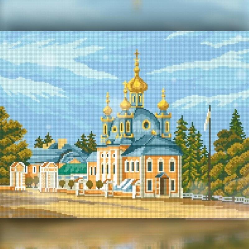 Алмазная вышивка мозаика The Wortex Diamonds Церковь 40x50см TWD30037L полная зашивка квадратные стразы. Набор