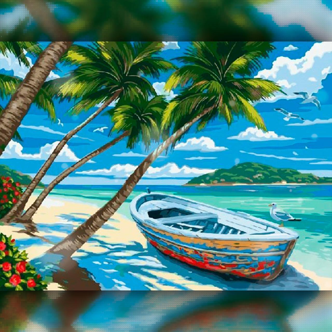 Алмазная вышивка мозаика The Wortex Diamonds Тропический остров 40x50см TWD30021L полная зашивка квадратные