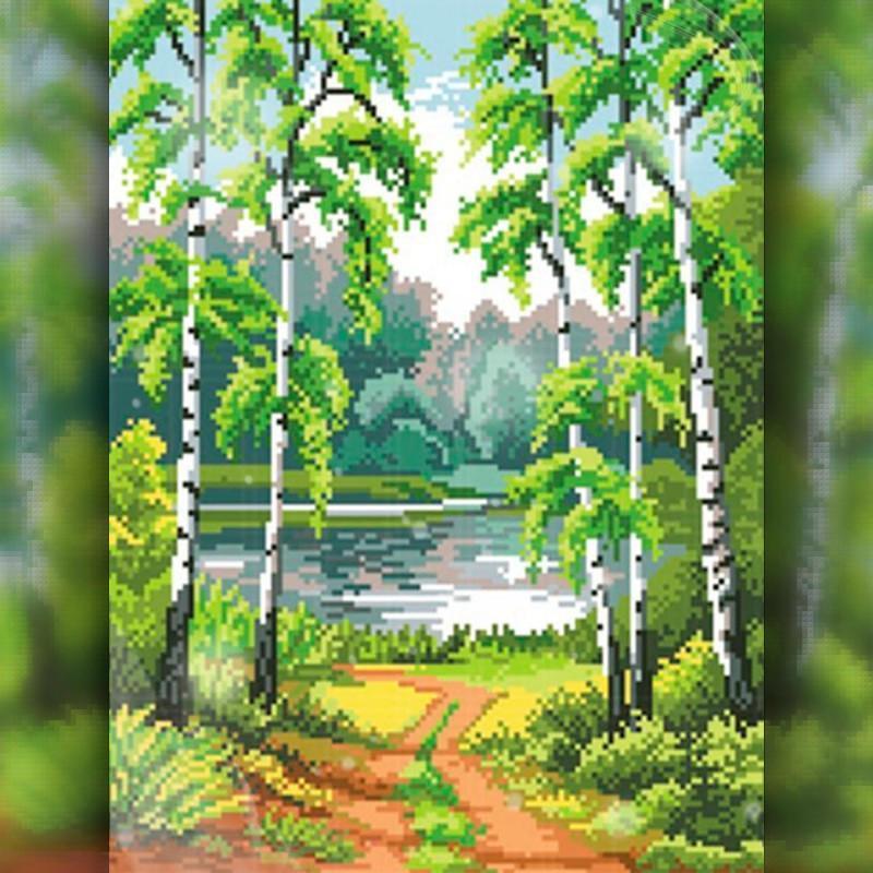Алмазная вышивка мозаика The Wortex Diamonds Берёзовый пейзаж 40x50см TWD30017L полная зашивка квадратные