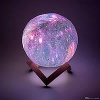 Ночник детский большой сенсорный настольный светильник Космос 3D Moon Lamp 18 см