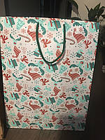 Пакет паперовий подарунковий Новорічний Сніговик на білому 350*450*150 мм