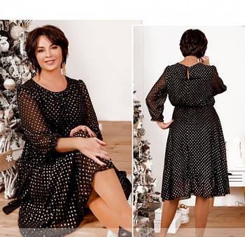 / Размер 48,52,54 / Женское нарядное платье батал / 20-09Б-Чёрный