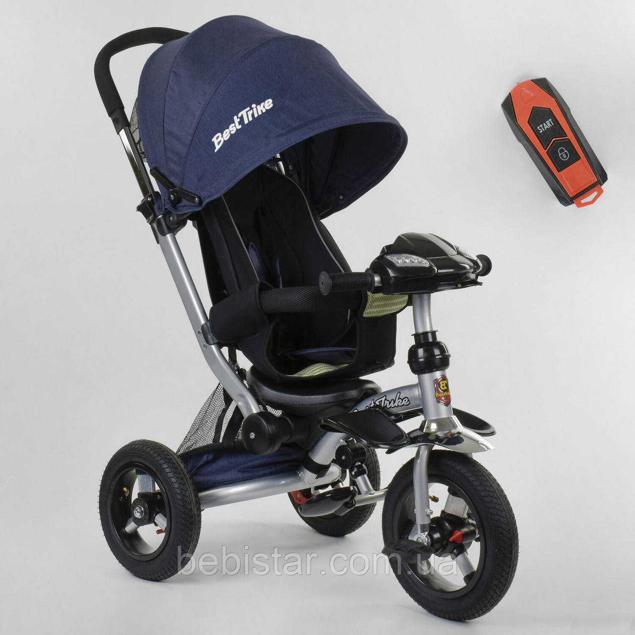 Детский трехколесный велосипед синий Best Trike 698 фара с USB пульт телескопическая ручка надувные колеса