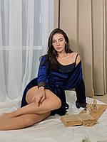Женская пижама тройка шорты майка штаны M темно синий, фото 1