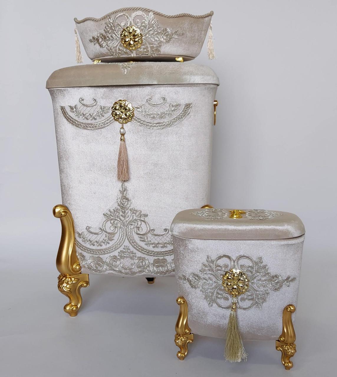 Корзины для белья в ванную комнату (3 шт в комплекте) Бежевый с золотыми ножками