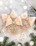 Новогодняя игрушка на ёлку «Нежная персиковая». 100% ручная работа