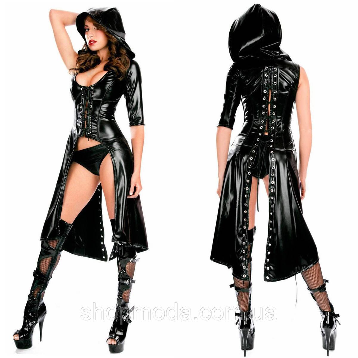 Латексное эротическое платье с разрезом и стрингами. Сексуальная женская латексная одежда.