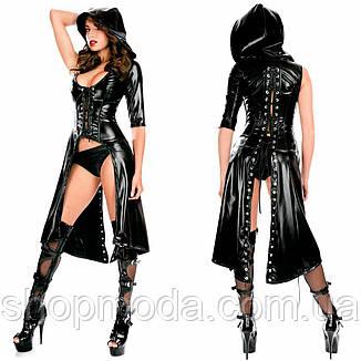 Латексное эротическое платье с разрезом и стрингами. Сексуальная женская латексная одежда., фото 2