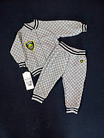 Костюм для мальчика кофта+штанишки GABBI КТ-04-18 Монстрики 68см серый арт.11424