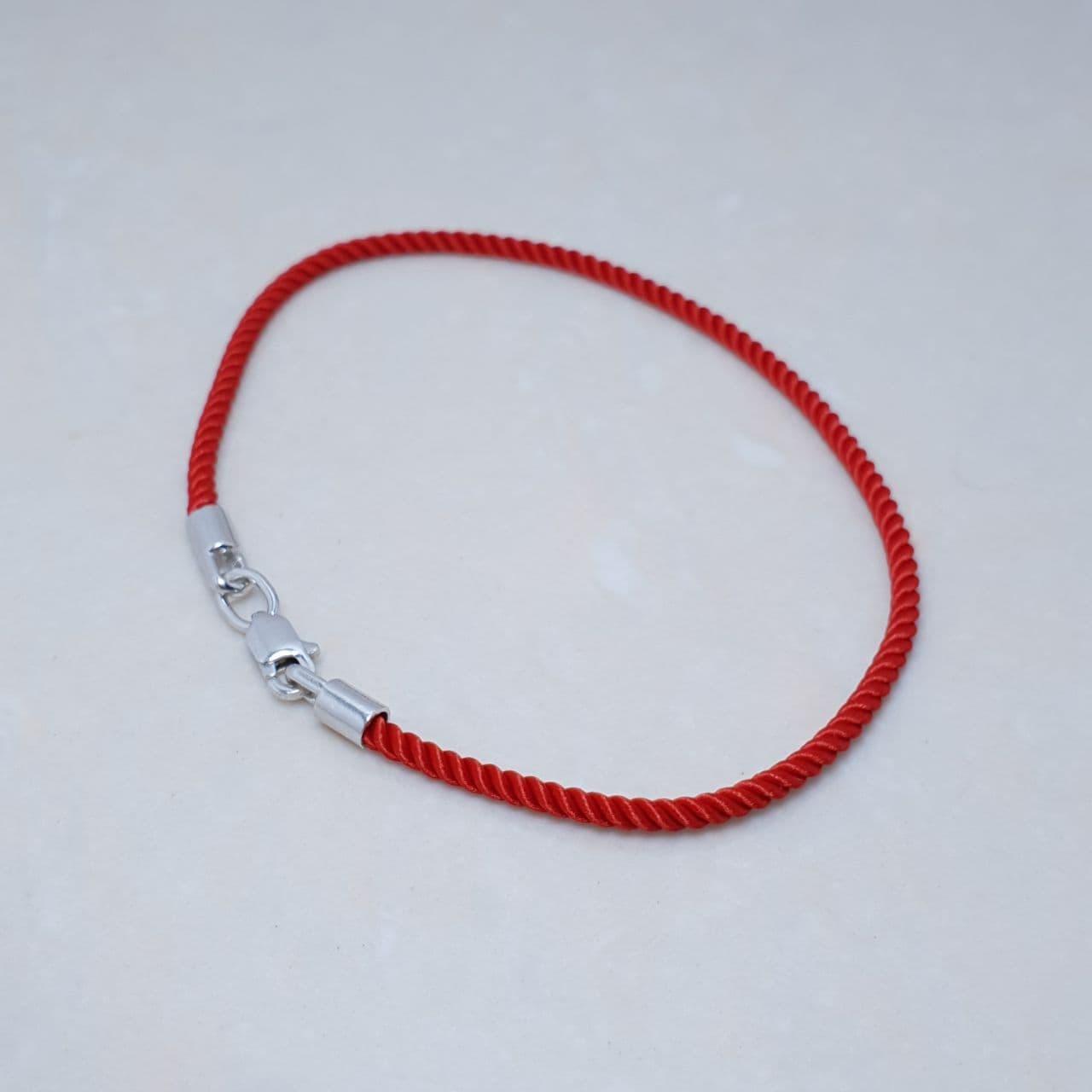 """Браслет-оберіг """"Червона нитка"""",срібло 925, червоне золото, натуральний шовковий плетений шнур - якість ТОП!!"""