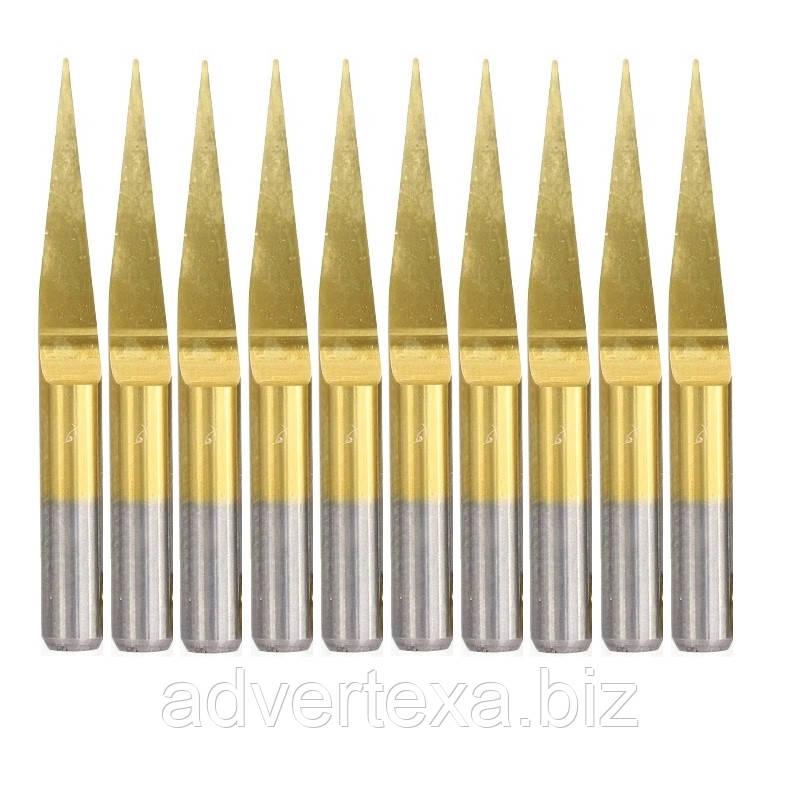 Набор фрез 0.4 мм 10 градусов 3.175 мм с титановым покрытием из вольфрамовой стали с общей длиной 30 мм