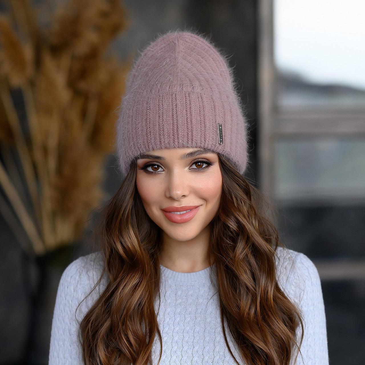 """Вязанная шапка """"Эмили """" цвет темная пудра"""