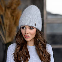 """Вязанная шапка """"Эмили """" цвет светло-серый"""