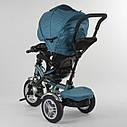 Детский трехколесный велосипед бирюзовый Best Trike 5890 фара с USB пульт поворотное сидение надувные колеса, фото 2
