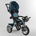 Детский трехколесный велосипед бирюзовый Best Trike 5890 фара с USB пульт поворотное сидение надувные колеса, фото 3
